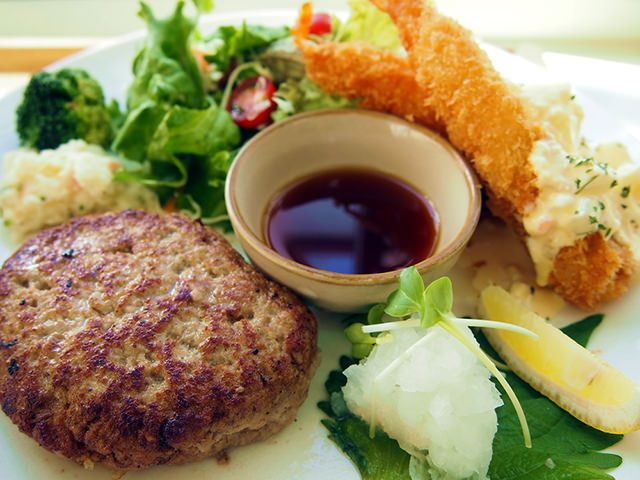 おろしハンバーグ&エビフライ定食